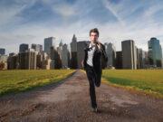 Forretningsmand løber