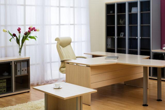 kontor med gardiner